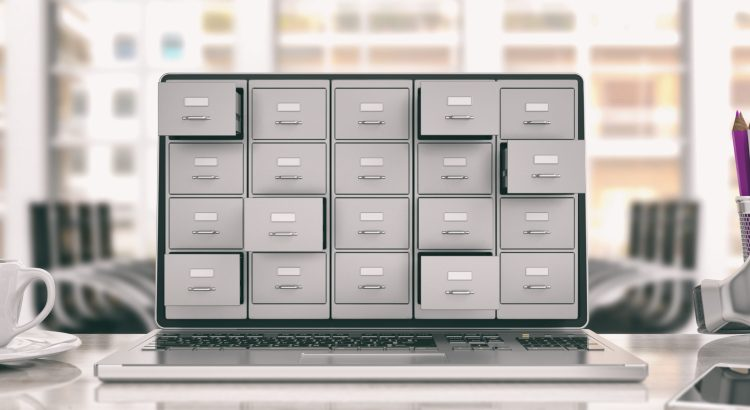 Filing archives cabinet on a laptop screen