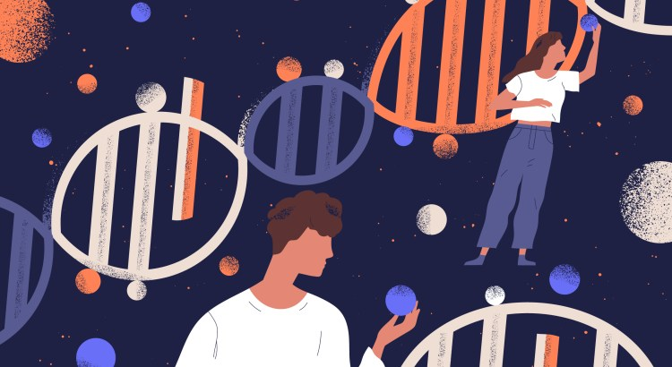 Illustration of a man and a woman standing in front of a DNA helix