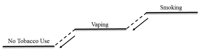 "Illustration demonstrating how ""smoking"" could lead easily to ""vaping"" to ""no tobacco use"" in a context in which smoking and vaping are regulated"
