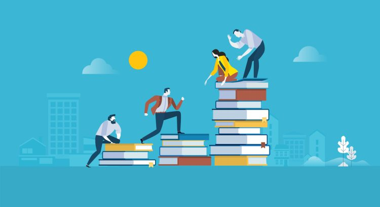 Illustration of four people helping each other climb progressively taller stacks of books