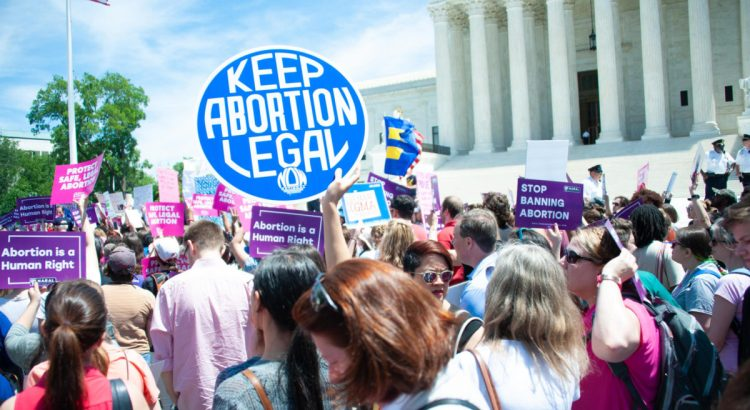 WASHINGTON MAY 21: Pro-choice activists rally to stop states' abortion bans in front of the Supreme Court in Washington, DC on May 21, 2019.