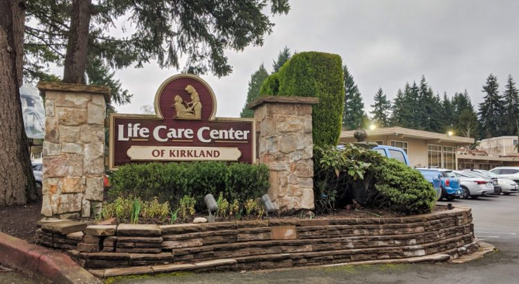 Kirkland, WA / USA - circa March 2020: Street view of the Life Care Center of Kirkland building, ground zero of the coronavirus outbreak in Kirkland.