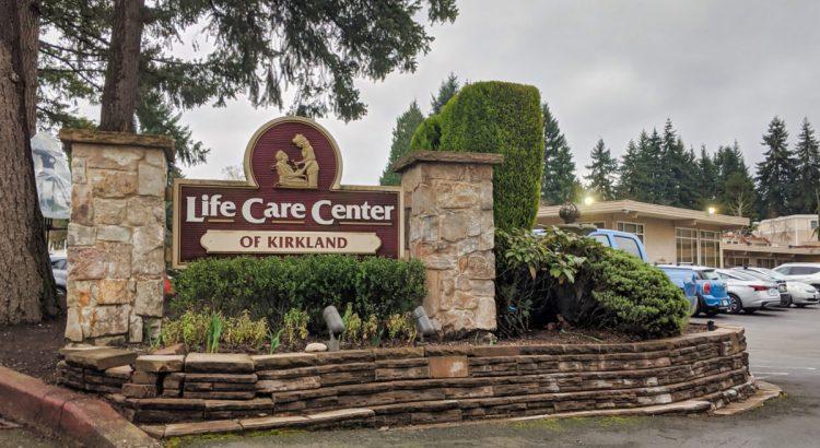 Kirkland, WA / USA - circa March 2020: Street view of the Life Care Center of Kirkland building, ground zero of the coronavirus outbreak in Kirkland.
