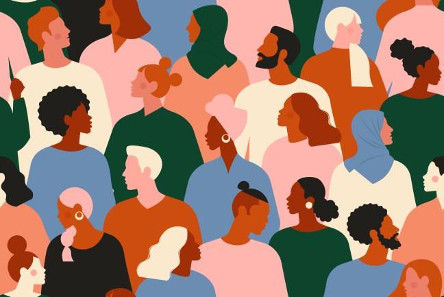 Society or population, social diversity. Flat cartoon vector illustration.