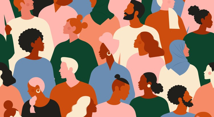 Society or population, social diversity. Flat cartoon vector illustration.
