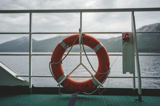 Life preserver on boat.