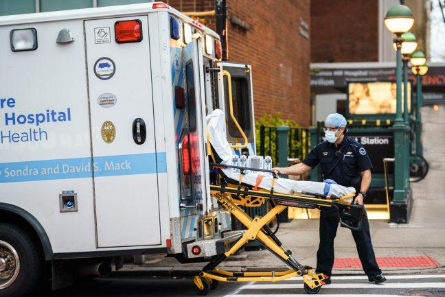 New York City, New York / USA - May 2 2020: New York City healthcare workers during coronavirus outbreak in America.