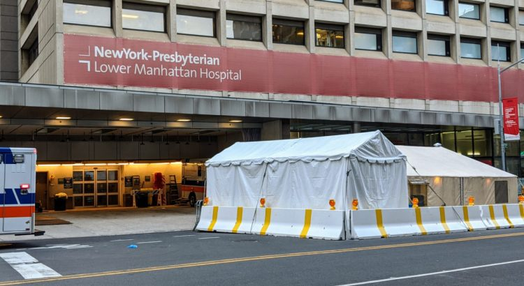 Temporary entrance in front of New York hospital during COVID-19 pandemic.