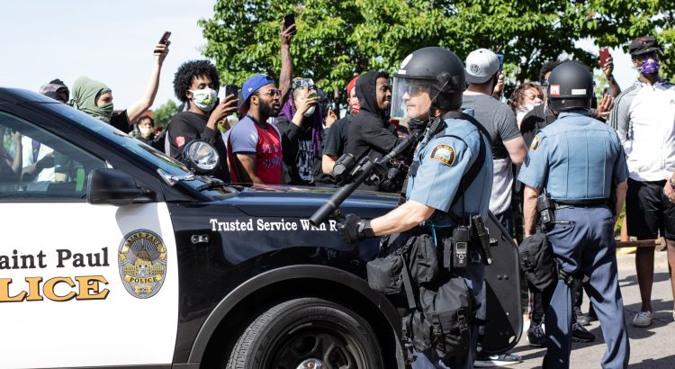 St. Paul, Minnesota /US - June 4, 2020: Police throand protestors during the protests following the murder of George Floyd.