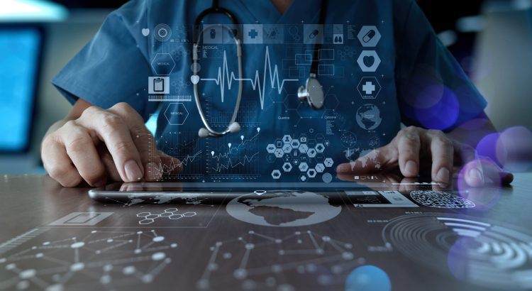 Doctor working with modern computer interface.