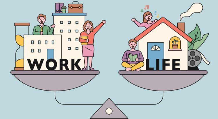 Work-life balance. flat design style minimal vector illustration.