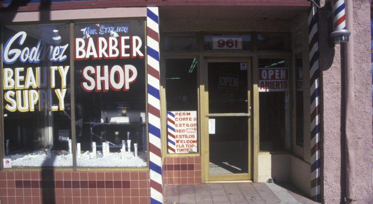SANTA PAULA, CALIFORNIA - CIRCA 1980's: A small-town barbershop, Santa Paula, CA.