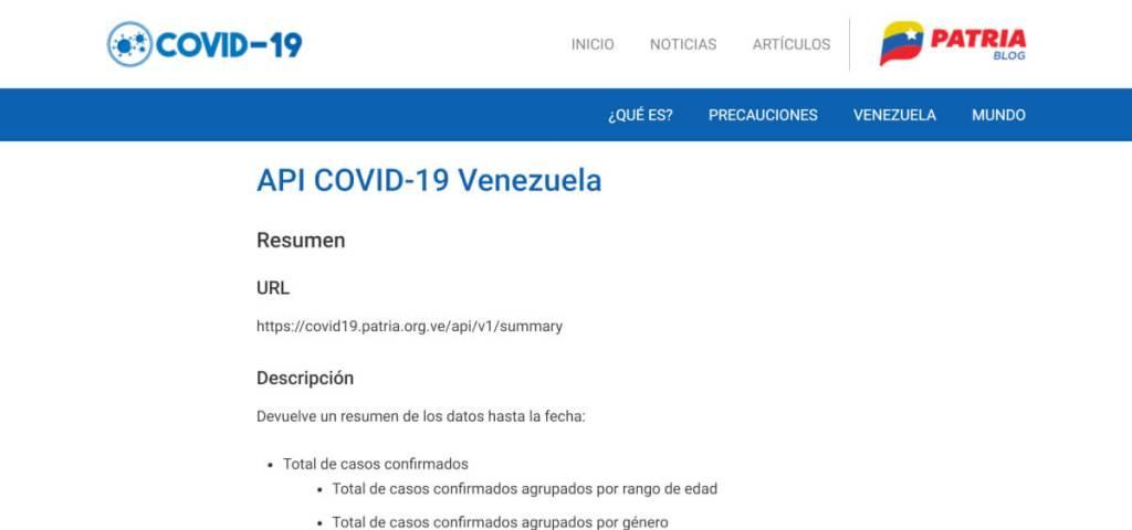 API COVID-19 Venezuela