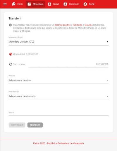 Transferencia a familiares o terceros de Litecoins en la plataforma Patria