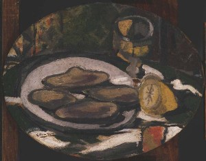 Georges Braque, Lemons and Oysters, 1927. Oil on canvas, 10 3/4 x 13 3/4 in. Acquired 1941.