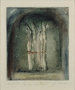 Joseph Goldyne, Asparagus at the Phillips, 1979. Monotype on paper, 3 1/2 x 3 in. Gift of the artist, 1979.