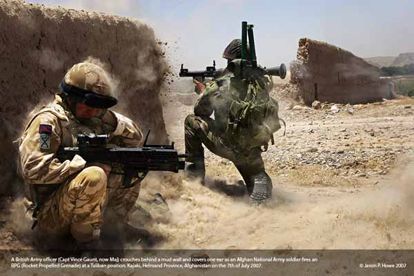 Afghanistan British and Afghan troops battle Taliban.