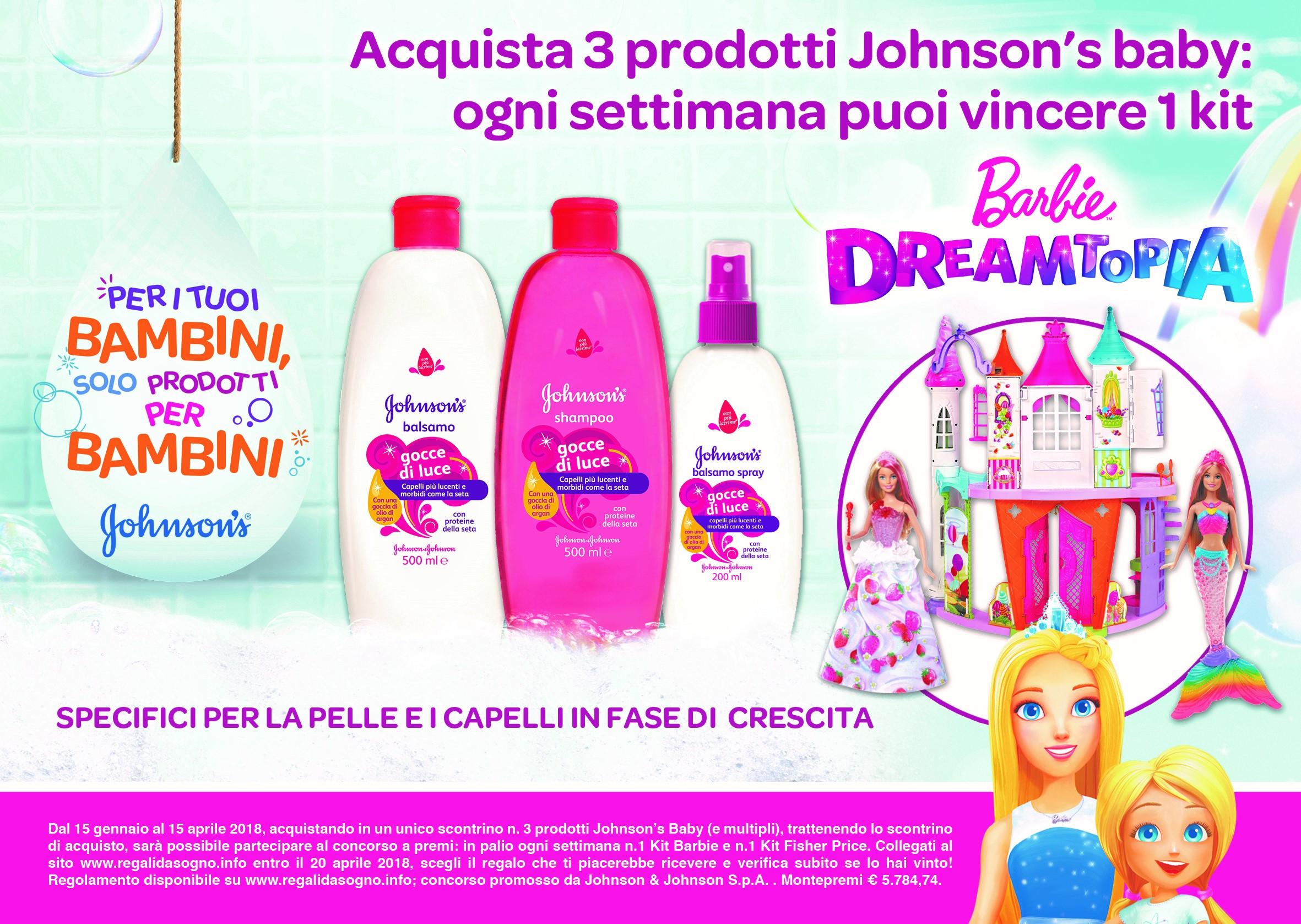 Vinci Barbie Dreamtopia con i prodotti Johnson's Baby