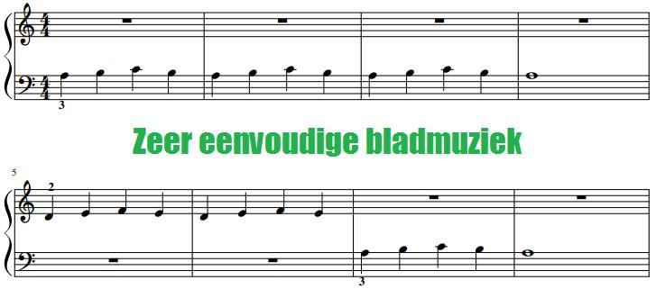 zeer eenvoudige bladmuziek voor piano