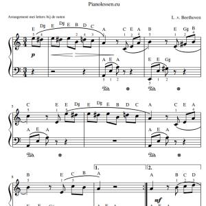 Beethoven Fur Elise met letters bij de noten