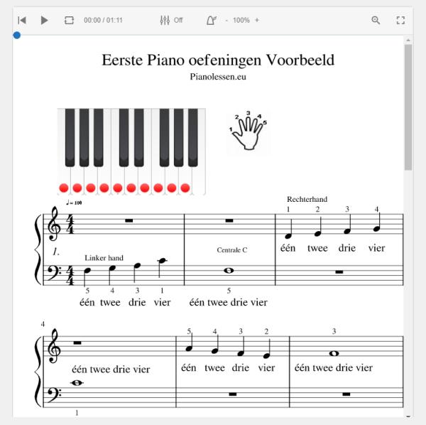 Eerste Piano oefeningen PDF