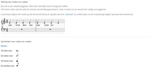 Voorbeeld telling muzieknoten