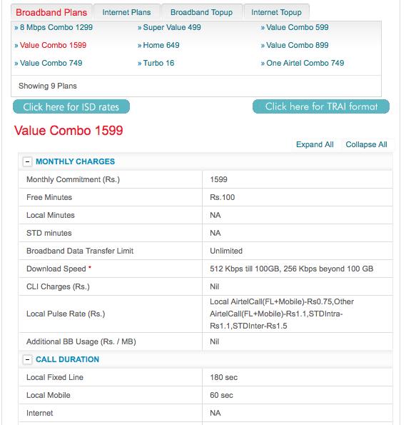 Airtel 512k with 100GB Cap