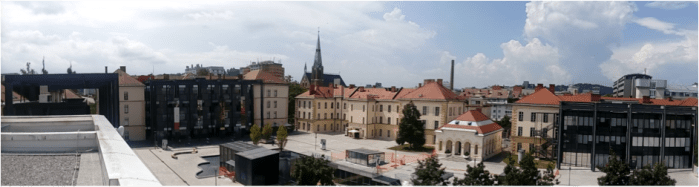 The institutional part of Metelkova – as seen from the rooftop of the +MSUM. Photo: Nikos Ntounis