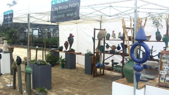 picture of Kathy Phillips Pottery booth at Plant Delights Open House
