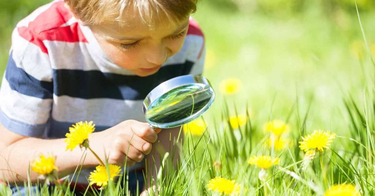 child looking at flowers through a magnifying glass
