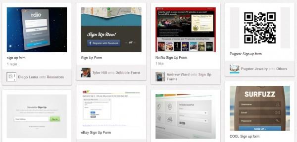 Exemplos de como formulário de optin são exibidos no Pinterest