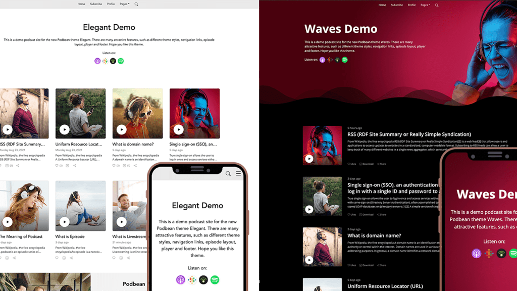 podcast website themes