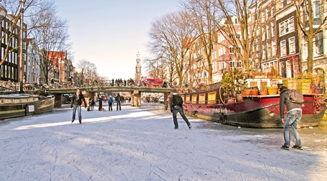 Ice Skating on Canals in Amsterdam