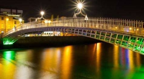 Ha Penny Bridge Dublin Ireland St Patricks Day