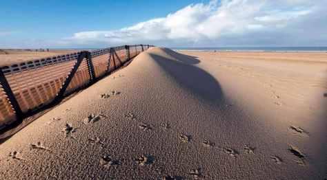 Footprints on Ostend beach