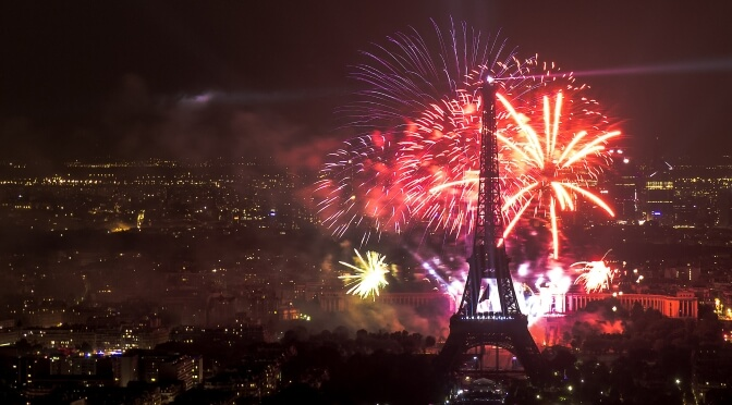 Fireworks over the Eiffel Tower, Paris