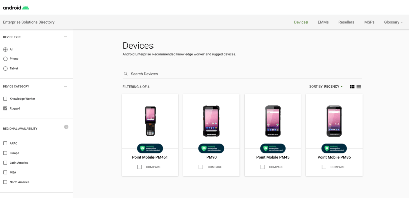 Point Mobile devices in Android Enterprise Recommended website
