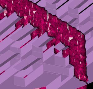 T-Rex mesh of anisotropic tetrahedra around thin surfaces.