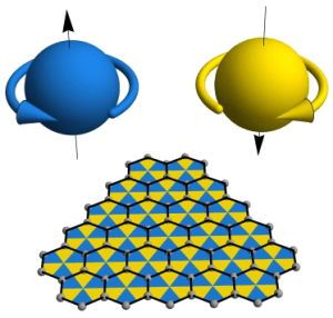 At very small distances, space acts like a chessboard with triangular tiles (i.e. a mesh) and this may be what gives electrons their spin. Image from UCLA.