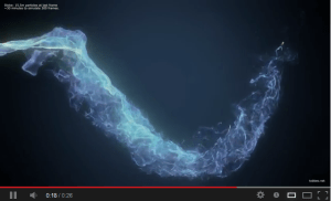 Screen capture from a video by Tobbe Olsson of a particle cloud simulation done with Stoke MX. (Click to play video.)