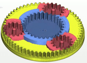 Screen capture from a video illustrating STAR-CCM+'s overset grid capability for a gear simulation. Image from CD-adapco.