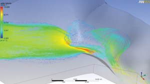 An ANSYS CFD simulation of flow over a waterfall on Vancouver Island. Image from R&D magazine.