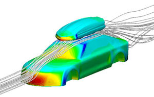 CFD study of rooftop cargo box drag by IMAGINit for Thule. Image from Desktop Engineering.