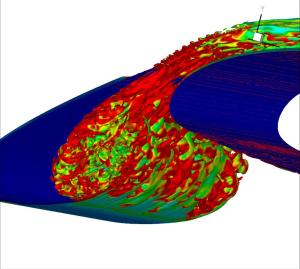 COOLFluiD LES simulation of subsonic turbulent flow over a wing with leading edge slat.