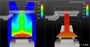 Simulation of fume abatement using both Fluent and EDEM in parallel. Image from DEM Solutions.