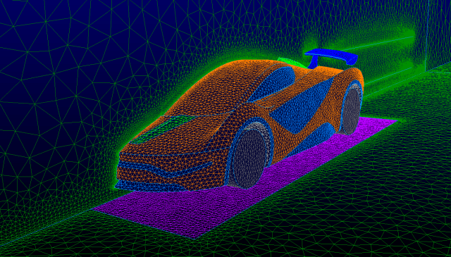 Surface mesh for external airflow in automotive application.
