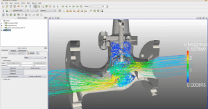 Screen capture from a video of a Simscale CFD simulation of a valve. Click image for video.