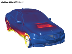 Full car STAR-CCM+ simulation as visualized using FieldView. Image from Intelligent Light.