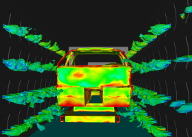 CFD simulation of automotive paint curing. Simulation and image from Convergent Science.
