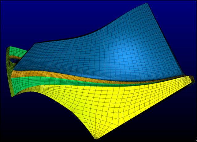 The side view of the centrifugal impeller highlights the blocking strategy used to generate the finite element mesh.